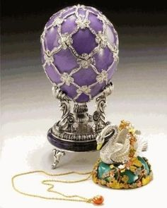 """The Swan Egg"" :  One of the Imperial Fabergé Eggs  (Work-master :Jakov Ljaounov) ... Given by Tsar Nicholas II to his mother, Dowager Empress Maria Feodorovna. Just 10 cms high, it is made from gold, enamel and diamonds. The surprise is a silver-plated gold swan sitting on a miniature lake made from an aquamarine. When wound up the swan's wings spread. Owned by the Fondation Edoaurd et Maurice Sandoz, Lausanne, Switzerland."
