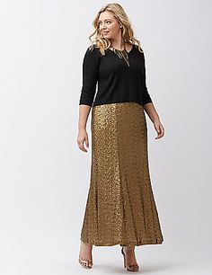 Completely covered in shimmering sequins, our long & lovely maxi skirt makes a show-stopping entrance. Easy-pull-on style with an elastic waist. Fully lined.  lanebryant.com