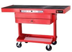 Excel TSC3201-Red 50-Inch Steel Work Station, Red by EXCEL. $290.87. From the Manufacturer                Steel work station with one ball bearing slide drawer, adjustable work surface, top storage compartment, bottom tray, powder coat paint finish and 4 x 1 inch casters                                    Product Description                This Excel steel tool cart has an  adjustable top, one ball bearing slide drawer, rubber top mat, top storage compartment, b...