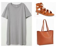 Photo set including a gray tee shirt dress, cognac colored tie-up sandals, and a cognac colored tote bag. Cool Outfits, Fashion Outfits, Womens Fashion, Fashion Tips, Wardrobe Solutions, Tie Up Sandals, Travel Outfit Summer, Summer Outfits, Blouse And Skirt