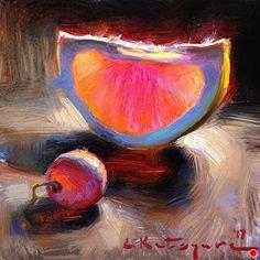 Grapefruit Slice and Grape by Elena Katsyura Oil ~ 6 in x 6 in