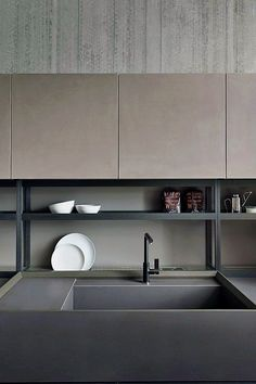 Modern Kitchen Interior Open shelves for tableware and products - Zampieri linear fitted kitchen is so stylish you'll want to minimize everything from your kitchen cabinets to that space-occupying kitchen island.