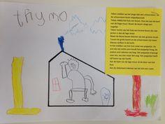 Tekendictee. Als basis de omtrek van een huis. Daarna het verhaal voorlezen en de kleuters laten tekenen.