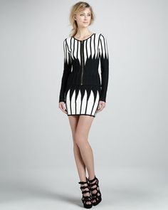Strapless Bandage Dress & Zip-Front Jacket by Herve Leger at Neiman Marcus.