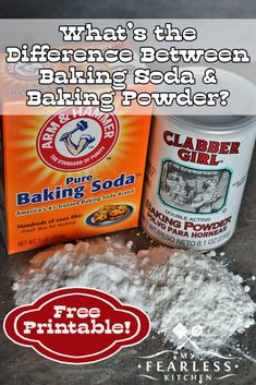 What's the Difference Between Baking Soda and Baking Powder from My Fearless Kitchen. Have you ever been tempted to swap baking soda for baking powder? Can you? What's the difference between baking soda and baking powder? Does it matter? #baking #kitchentip #bakingtip #printable