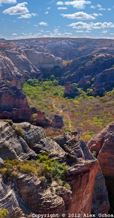 vista panoramica do mirante do alto da pedra furada, na area do baixão da pedra furada, Parque Nacional da Serra da Capivara, Piaui