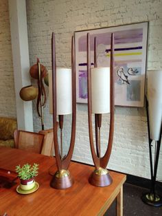 We have a floor lamp that is similar but with a replacement shade. Now I know what the shade should look like. (pair of mid century Danish modernstyle lamps by by Midcenturyville, $950.00)