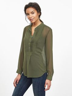 Heritage Pleat-Front Blouse - but a bit less sheer