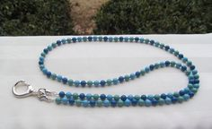 Blue Turquoise Jade Beaded Lanyard Swarovski by TheLanyardNecklace, $30.00