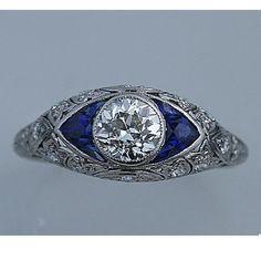 Art Deco Platinum Old European Cut Diamond Engagement Ring Circa Early 1900's #tiffany tiffany engagement rings ebay