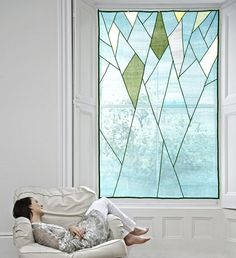Abstract Tree Design - Sheer shade / covering for window and space décor. Korean fabric art, Jogakbo