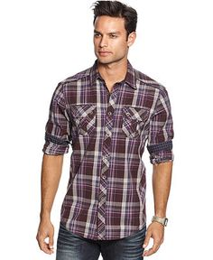 INC International Concepts Shirt, Maker Plaid Shirt - Mens Shirts - Macy's