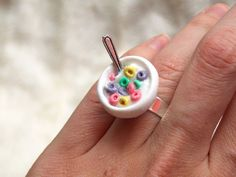 Cute Ring - Fruit Loops Bowl Ring - Breakfast Cup Cereal Ring - Miniature Fimo Ring - Miniature Breakfast - Food Jewelry - TashTash Jewelry on Etsy, $6.50