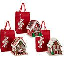 Set of 3 Mini Lit Gingerbread Houses with Gift Bags by Valerie - H206047 — QVC.com