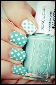 Love these! Reverse polka dot Essie nail art art fashion stuff,Hair,Hair and nails i love,Nails, Dot Nail Art, Polka Dot Nails, Nail Art Diy, Easy Nail Art, Polka Dots, Blue Dots, Aqua Blue, Coral, Nails And More