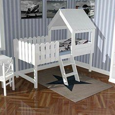 Toy bed TREEHOUSE – for little adventurers, incl. Slatted frame, solid wood, white, Source by jhamny Toddler Rooms, Baby Boy Rooms, Little Girl Rooms, Baby Room, Toddler Bed, Play Beds, Kid Beds, Girls Bedroom, Ikea Bed