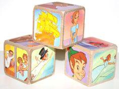 Peter Pan Wooden Baby Blocks  Nursery Room Decor  by Booksonblocks, $17.00