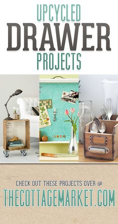 Upcycled Drawer Projects - The Cottage Market #UpcycledDrawerProjects, #DIYDrawerProjects, #UpcyclingDrawers