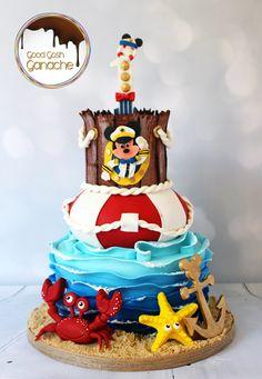 Sail Away with Captain Mickey - goodgoshganache Nautical Birthday Cakes, 1st Birthday Cakes, Birthday Ideas, Nautical Mickey, Nautical Cake, Mickey Mouse Clubhouse Birthday Party, Mickey Party, Mickey Cakes, Minnie Mouse Cake