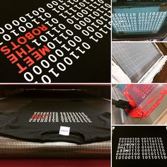A very effective design from Meet the Robots! White and red screen print on black Gildan heavy tees. #screenprinting #red #white #black #gildan #tshirts