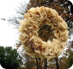 I started with a regular ol grapevine wreath and many, many white coffee filters. I did soak my coffe. Diy Wreath, Door Wreaths, Grapevine Wreath, Burlap Wreath, Wreath Making, My Coffee, White Coffee, Coffee Filter Wreath, Indoor Crafts