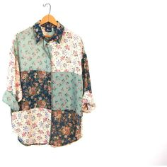 Slouchy SHEER Floral Blouse Button Up 90s Festival Patchwork Shirt... ($36) ❤ liked on Polyvore featuring tops, blouses, floral shirt, button down shirt, white button down blouse, white button down shirt and see through blouse