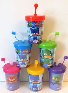 PJ Masks Party Favor Cups, PJ Masks Birthday Party Personalized Treat Cups Catboy, Owlette, Gekko, PJ Masks Party Cups Set of 6