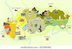 Find Map Slovakia Landmarks stock images in HD and millions of other royalty-free stock photos, illustrations and vectors in the Shutterstock collection. Gcse Art, Social Media Logos, Travel Maps, Map Art, New Pictures, Royalty Free Stock Photos, Education, Illustration, Collections