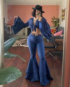 Bell Bottoms, Blue Denim, Bell Bottom Jeans, Pants, Instagram, Fashion, Trouser Pants, Moda, Fashion Styles