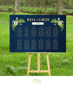 This Wedding Seating Chart sign may be customized with your colors and flowers. This example is a combination of modern type paired with vintage
