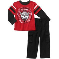 Garanimals Baby Toddler Boys' Long Sleeve Graphic Hangdown Tee and Cargo Pants 2-Piece Outfit Set, Toddler Boy's, Size: 5 Years, Red