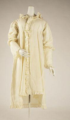 Pelisse Date: 1815–20 Culture: American Medium: cotton Accession Number: C.I.40.185.3