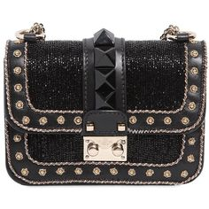 VALENTINO Mini Lock Embellished Leather Bag ($3,295) ❤ liked on Polyvore featuring bags, handbags, shoulder bags, bolsas, clutches, valentino, studded leather handbag, studded purse, real leather handbags and genuine leather shoulder bag