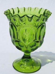 moon & stars pattern glass ruffled edge goblet vase, vintage green