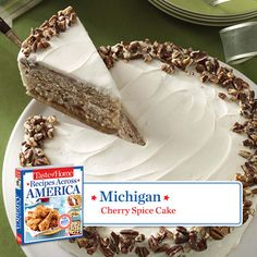 50 States in 50 Days:  Michigan :: Cherry Spice Cake Recipe from Taste of Home.    Find regional Midwestern recipes like this one and more in our new cookbook, Recipes Across America---->  http://www.tasteofhome.com/rd.asp?id=22997