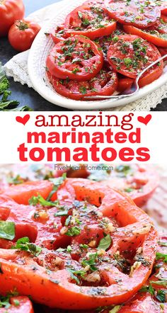 Ripe juicy tomatoes soak up olive oil red wine vinegar onion garlic fresh herbs in Marinated Tomatoes a zesty summer salad or a versatile side dish Marinated Tomato Salad Recipe, Marinated Tomatoes, Tomato Salad Recipes, Veggie Recipes, Appetizer Recipes, Healthy Recipes, Recipes With Fresh Tomatoes, Summer Vegetable Recipes, Grow Tomatoes