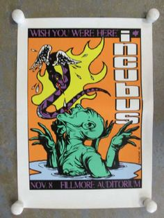 Original silkscreen concert poster for  Incubus atThe Fillmore Auditorium in San Francisco, CA in 2001. 14 x 20 inches. Artwork by Jermaine Rogers.