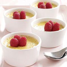 Egg yolks recipe -- baked french vanilla pudding. pots de creme.  1/2 of a vanilla bean, 2 cups whole milk, 6 egg yolks, 1/2 cups sugar