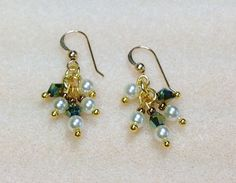 Dangle Earrings Glass Pearl Swarovski Crystal by JewelryCharmers, $17.00