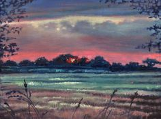 Winter Tableau by Helen  White - A moment of winter sunset framed by foliage; blush pink sky dips the darkening field in soft hues while the distant trees become inky against the sky.