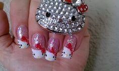 Cute Hello Kitty Nail Designs : Teenage Glam Hello Kitty Nail Art with bling