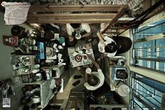 Cramped photographs of Hong Kong cubicle apartments. These photographs of Hong Kong cubicle apartments are a disturbing combination of vertigo and claustrophobia. According to the SoCO, about 100,000 people in Hong Kong live in one of these 40-square-foot apartments, dividing their lives into small, contained areas. Taken from a bird's-eye-view, these revealing photographs give us Westerners a little more reason to be thankful.