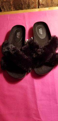 2e0fea265aa0 Ladies Mossimo Black Criss Cross Faux Fur Slippers Size 6  fashion   clothing  shoes