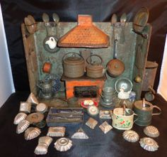 Antique German Toy Miniature Tin Kitchen Doll House Diorama Many Accessory Items | eBay