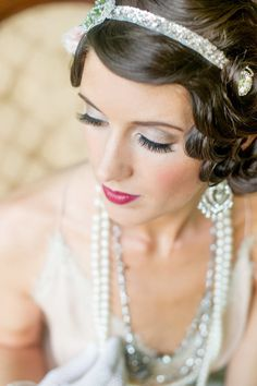 Gatsby hair, make up, headband. Photography by parismountainphotography.com Read more - http://www.stylemepretty.com/2013/08/13/great-gatsby-inspiration-from-paris-mountain-photography/