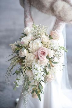Need a bridal bouquet inspiration for your wedding? Consider the white bridal bouquet. While we love scoping out all of the innovative floral designs that are out there, a white bouquet will forever be timeless. But why white? Cascading Bridal Bouquets, Cascading Wedding Bouquets, Cascade Bouquet, Bride Bouquets, Bridal Flowers, Flower Bouquet Wedding, Floral Wedding, Bouquet Flowers, Wedding Colors