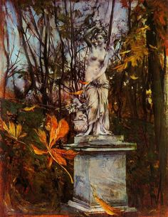 Statue in the Park of Versailles by Italian painter Giovanni Boldini Giovanni Boldini, Italian Painters, Italian Artist, Art Academy, Impressionism Art, Art Database, Landscape Paintings, Oil Paintings, Abstract Landscape