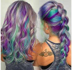 Gray hair with purple, blue, and green