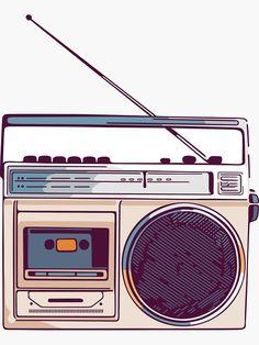 'Retro Radio Boombox' Sticker by sundrystudio Radio Drawing, Coffee Cup Art, Retro Radios, Iphone Icon, Sketch A Day, Retro Aesthetic, Boombox, Old Tv, Cute Stickers