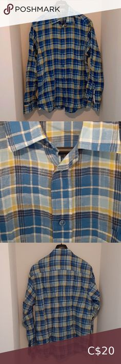 Casual Shirts For Men, Casual Button Down Shirts, Button Up Shirts, Kate Spade Wedges, Geometric Dress, Cotton Pants, Blue Plaid, Coats For Women, Colorful Shirts